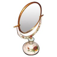 Early 20th Century Chinese Cloisonne Vanity Mirror Two Sided with Optic Engraving