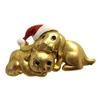 Vintage Danecraft Gold-Tone Dog and Cat Buddies Santa Hat Pin Brooch