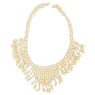 Gorgeous Vintage Gold tone Dangle Bib Necklace Chain mail necklace