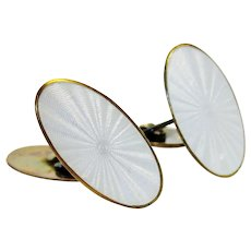 Vintage Late Art Deco Early Midcentury Modernist David Andersen Norway White Guilloche Enamel & Sterling Pair of Cufflinks Men's Valentine Mad Men Gift Jewelry