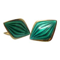 Vintage Modernist Guilloche Enamel David Andersen Norway Sterling Silver and Emerald Green Rare Geometric Cufflinks Pair Valentine's Jewelry