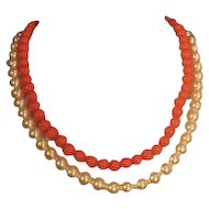 Vintage Double Strand Choker with Faux Pearl and Faux Coral Beads and ornate closure