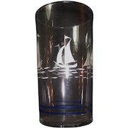 Art Deco Hand Painted Nautical Set of 6 Cocktail Juice Wine Glasses-Ships:Sailboats:Boats:Seashore:Nautical:Navy