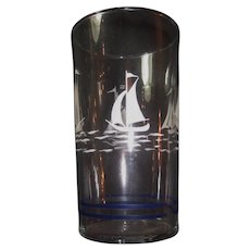 Art Deco Hand Painted Nautical Set of 6 Cocktail Juice Wine Glasses-Ships:Sailboats:Boats:Seashore:Nautical:Navy