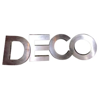 "Vintage Stainless Steel ""Deco"" Phrase Display Letters Advertising Signage Art Installation Pieces"