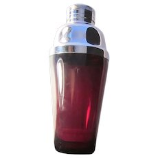 Art Deco Ruby Red Glass and Chrome Step Martini Shaker - Red Tag Sale Item