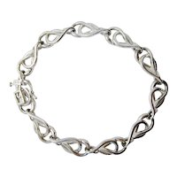 Lovely Modernist Intricate Sterling Link Bracelet with Diamond Chip Accent Details Valentine's Gift Jewelry Simple Sparkling Bracelet