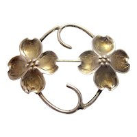 Vintage 1950s Midcentury Stuart Nye Studios Dogwood Flower Sterling Silver Pin Brooch