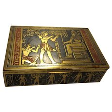 Art Deco Egyptian Revival Cigarette Box Vanity Storage Tobacciana Accessory