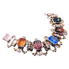Vintage Egyptian Revival Bracelet with 5 glass stones with hieroglyphics