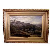 Antique 19th Century (1885) Signed Edward Henry Holder Large Format English Rural Landscape Oil on Canvas Painting in Gilt Frame