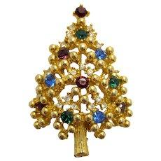 Vintage Eisenberg Gold Tone Sparkling Rhinestone Christmas Tree Pin Brooch