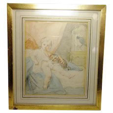 Antique 19th Century English Small Format Figural Drawing with Aquarelle/Watercolor Detail Featuring Young Child in Bed with Pets