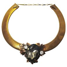 Vintage 1970s 1980s Art Deco Revival Statement Choker Collar Necklace by Ermani Bulatti Huge costume gem stone
