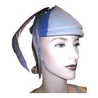 Vintage Blue and Grey Tricolor Fascinator Hat with Long Blue Feathers