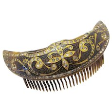 True Vintage Celluloid Faux Tortoise Gold Tone Inlay Paste Rhinestone Hollow Crescent Moon Hair Comb 1920s 1930s Hair Accessory