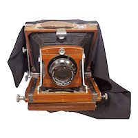 Rare and Collectible Antique Early 1900s Japanese Large Format Wooden and Fabric Collapsible Field Camera by Konishiroku Tokyo