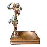 1920s Art Deco Vintage Pompeian Bronze Painted Flapper Girl Figural Dresser Tray Desk Tray Ash Tray Vide Poche