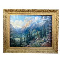 Antique Late 19th Century-Early 20th Century Fantastical Landscape Mountain Scene National Park Natural Forest Hillside Oil Painting Signed Fletcher Sultzer (John Wesley) in Gold Gilt Frame