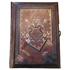 Victorian leather bound photo Album with dark red brown leather embellishments and beautiful metal antique hardware-Wedding Album