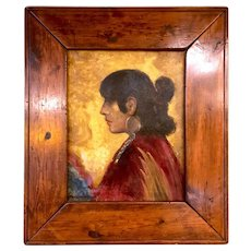 1920s Framed Oil on Canvas Painting Titled Young Hopi Girl Signed J. Borgimontz