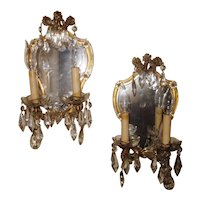 Pair 1920s French Louis XV Style Gold Gilt Mirror and Glass Framed Sconces With Chandelier Crystals and Delicate, Playful Florets