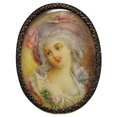 Rare Antique Early 19th Century French Miniature Portrait Brooch Pin in 18K Gold Setting with Painting of Aristocratic Woman in Feminine Colors and Flourishes