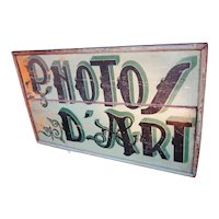 """1920s Classic French Art Deco Sage Green Painted Double-Sided Wood Photo Studio Art Photo Sign """"Photos d'Art"""" Hanging Shop Sign Hand Lettered Wrought Iron Findings"""