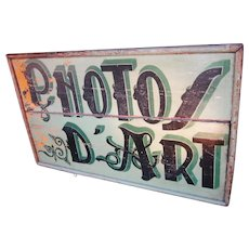 "1920s Classic French Art Deco Sage Green Painted Double-Sided Wood Photo Studio Art Photo Sign ""Photos d'Art"" Hanging Shop Sign Hand Lettered Wrought Iron Findings"