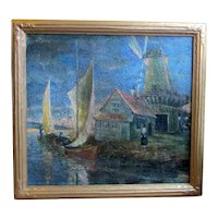 1920s Oil on Canvas Palette Knife Painting of Dutch Fishing Village Scene by Chicago WPA Artist George Hruska