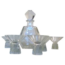 German Art Deco Hand Cut Crystal Geometric Decanter Liquor Set with 6 matching glasses-NOS