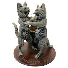 "Vintage German Cast Iron Match Holder 2 Cats ""Endlich Allein"" or ""Alone at Last"""