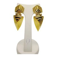 Vintage Givenchy Gold Tone Art Deco Revival Geometric Dagger Chunky French Couture Runway Statement Earrings