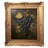 Ornately Framed Oil on Canvas Richly-Toned Hanging Grapes Still Life Painting c. 1889 Signed J. Goody