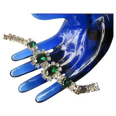 Vintage Art Deco Faux Emerald Czech Glass Green and White Glittering Cocktail Bracelet Wedding Jewelry Gatsby Era Formal Costume Jewelry
