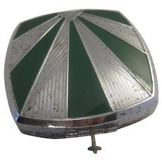Vintage Art Deco 1920s-1930s Green and Silver Enameled Makeup Compact and Mirror Flapper Girl Gatsby Era Accessory
