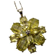 Sterling Silver and Peridot-Green Crystal Flower Oversized Pendant on Long Italian Sterling Chain Necklace