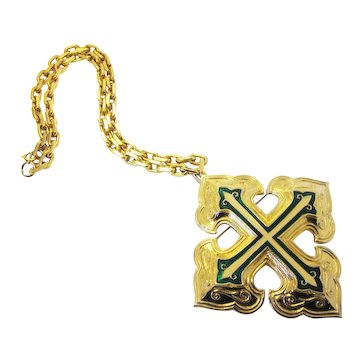Vintage 1960s-1970s Signed Jomaz Jewelry Large Oversize Disco Era Jewelry Green Shimmer Enameled Gold Tone Maltese Cross with Rope Chain