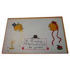 Vintage Halloween Postcard by Bergman 1913,  JOLs, Black Cat
