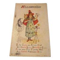 Vintage Halloween Postcard Nash H14 Witch Owl Moon Stars Cards