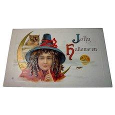 Vintage Halloween Postcard Jolly Halloween Witch series no. 332 CLEAN!
