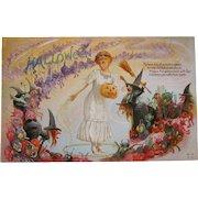 Vintage Halloween postcard green goblins, witches jols