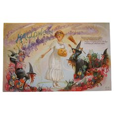 Vintage Halloween postcard green goblins, witches jols