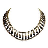 Vintage Victorian-Inspired Miriam Haskell Style Black Bead and Rondell Rhinestone Gold Tone Choker Collar Necklace