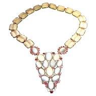 Vintage Rare Signed Hattie Carnegie Faux Moonstone Cabochon Necklace