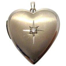 Vintage 1950s 14k White Gold Diamond Starbust Sweetheart Locket Pendant