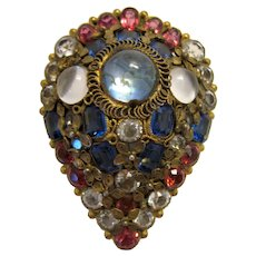 Rare True Vintage 1930s Art Deco Hobé Pink and Blue Crystal Faux Moonstone Dress Clip Stunning Collectible Costume Cocktail Jewelry