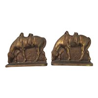 Vintage Pair of  Brass Horse Bookends Saddled up and Grazing in the Grass