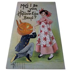 Vintage Halloween Postcard May I be your Halloween Beau Devil JOL