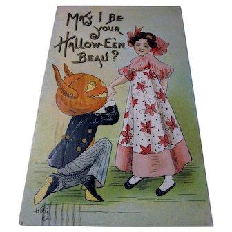 Vintage Halloween Postcard May I be your Halloween Beau Devil JOL